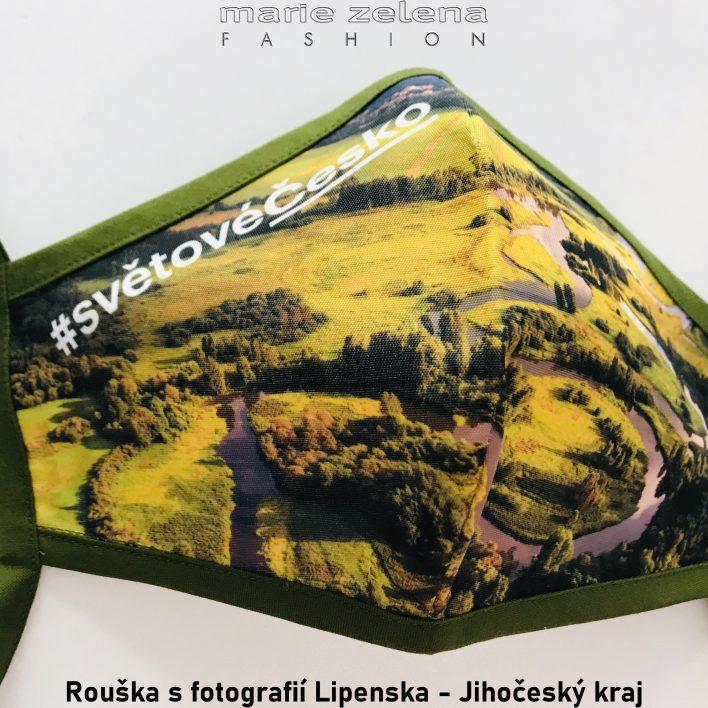 Rouška s fotografií pro Jihočeský kraj - Marie Zelena Fashion a CzechTourism