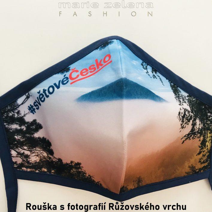 Rouška s fotografií Růžovského vrchu - Marie Zelena Fashion a CzechTourism