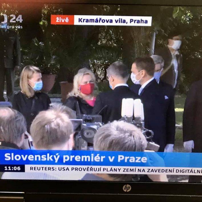 Ministryně pro místní rozvoj ČR Klára Dostálová na prvním setkání se slovenským premiérem Igorem Matovičem