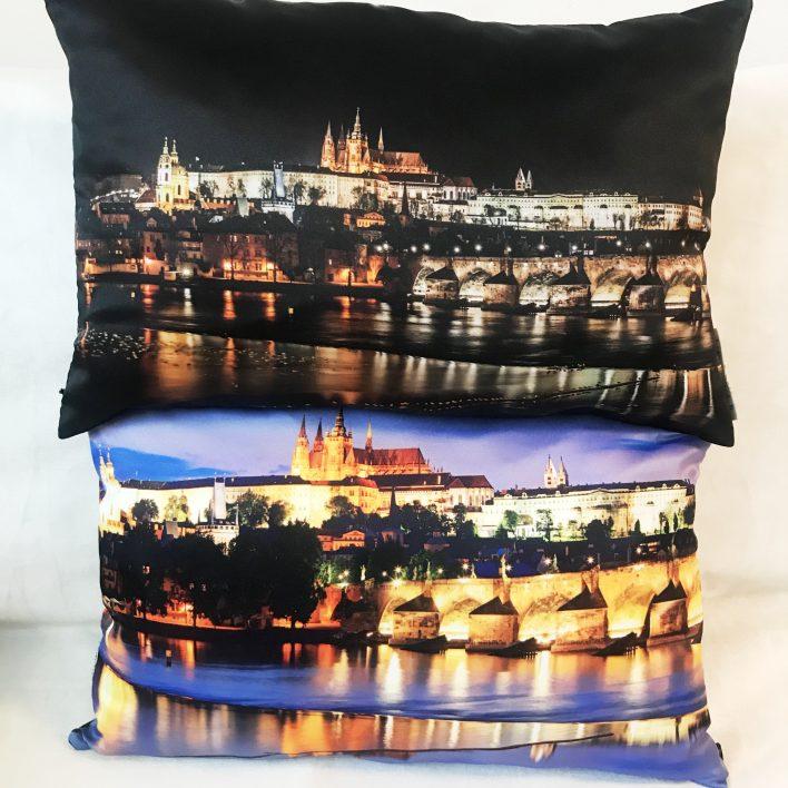 Polštář Praha oboustranný Zelena fashion